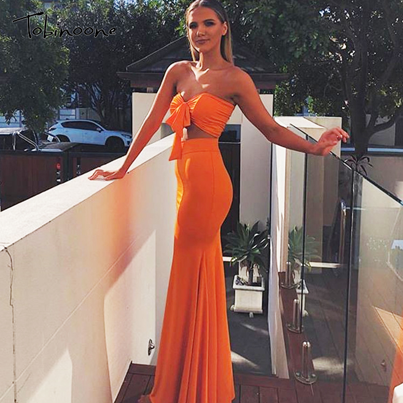 Tobinoone Bodycon Two Piece Set Women 2019 Backless Crop Top And Long Skirt Sets Sexy 2 Piece Set Solid Elegant Outfits Fashion
