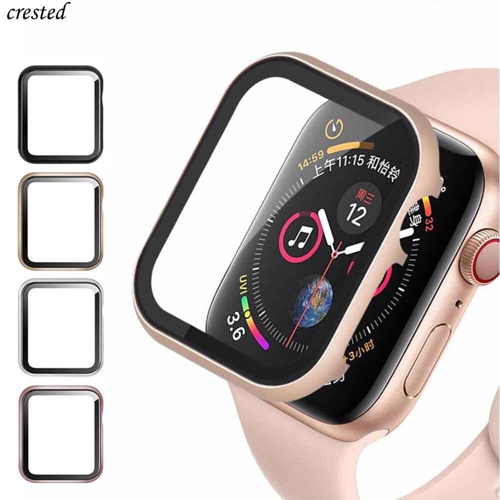 Стекло + чехол для Apple Watch серии 6, 5, 4, 3 SE 44 мм 40 мм наручных часов iWatch, 42 мм, 38 мм, версия бампер + экранная Защитная крышка для Apple аксессуары для ...