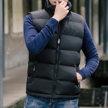 Męskie kamizelki męskie kurtki zimowe ciepłe kamizelki puchowe płaszcze casualowe męskie kamizelki Fashiom damskie i kamizelka męska Zipper bez rękawów czerwony płaszcz tanie i dobre opinie Lawrenceblack CN (pochodzenie) COTTON Poliester Men s jacket men vests men clothing NONE Stałe REGULAR Szczupła MANDARIN COLLAR
