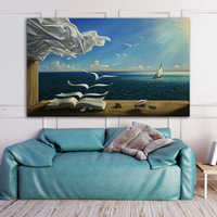RELIABLI ART Salvador Dali Sea Waves Book Picture Canvas painting Wall Art Pictures For Living Room Modern Decoration Home Decor