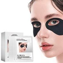 ILISYA-máscara negra de ojos brillante para ojeras, parches de ojo hidratante, hinchazón, antiarrugas, cuidado de la piel