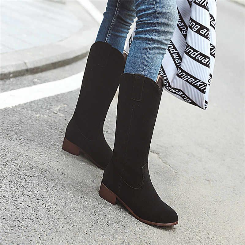 ASUMER büyük boy 34-43 moda sonbahar kış çizmeler yuvarlak ayak orta buzağı çizmeler akın med topuklar üzerinde kayma kadın botları 2020 yeni