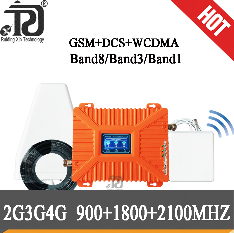 4g Signal Booster 900/1800/2100 Tri-Band Mobile Signal Booster LTE  WCDMA GSM 2g 3g 4g Gsm Signal Repeater 4G Cellular Amplifier