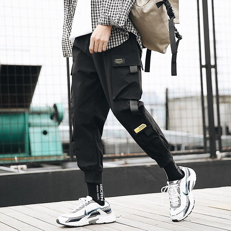 Black Harem Pants Men 2020 Spring New Mens Jogger Pants Streetwear Ribbons Sweatpants Cargo Ankle-length Men Trousers