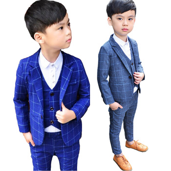 2019 winter velvet 3PCS boy wedding suits plaid Kids Prom children clothing sets boy classic costume costum school clothing set