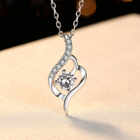 BOEYCJR 925 Silver 0.5ct F color Moissanite VVS Engagement Elegant Wedding Pendant Necklace for Women Anniversary Gift