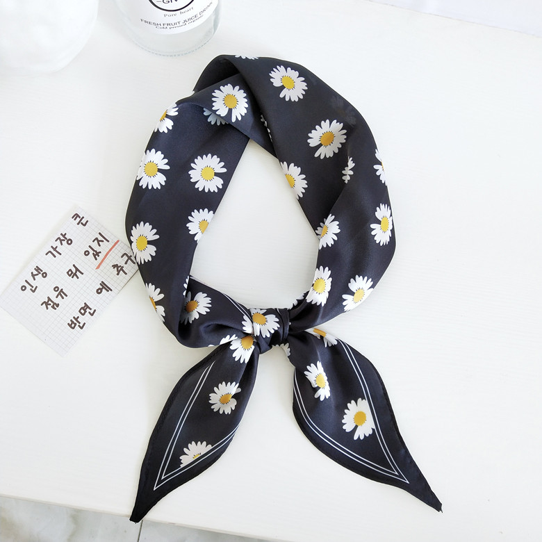 Spring And Summer New Flower Long Scarf Women's Headband Hair Band Wrist Small Silk  Scarf Headscarf