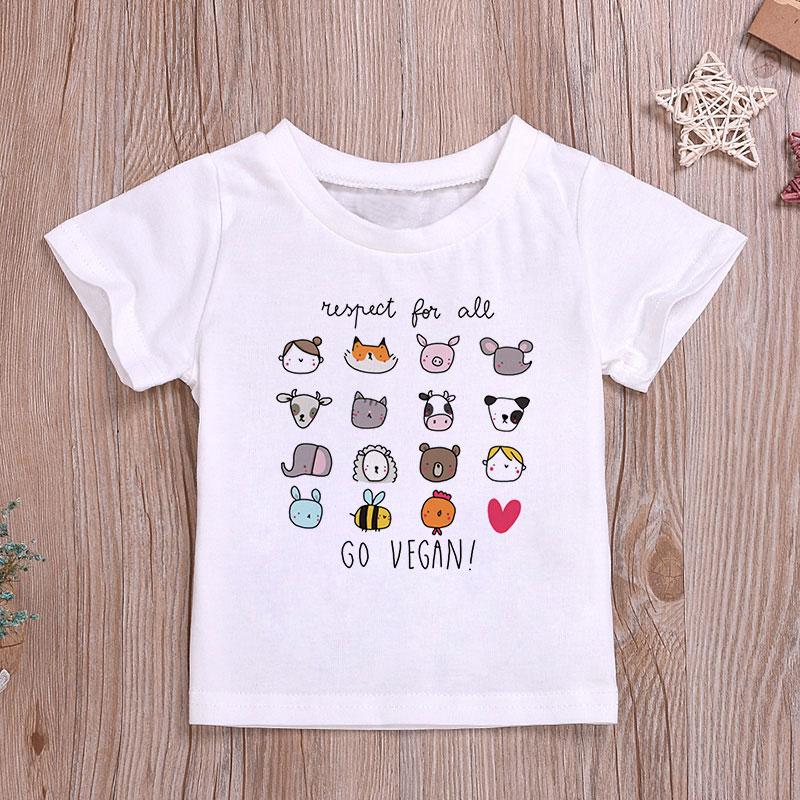 Girls <font><b>Tshirt</b></font> Cute Harajuku Go Vegan <font><b>Baby</b></font> Boy T Shirt Summer <font><b>Tshirts</b></font> Girl 24M-9T Kids Clothes Cartoon <font><b>Animals</b></font> O-neck Funny Kawaii image
