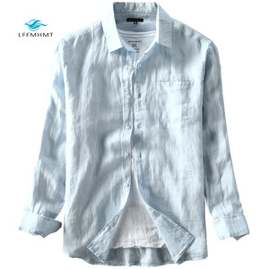 Image 5 - Men Spring And Autumn Fashion Brand Japan Style Vintage Solid Color Blue Linen Long Sleeve Shirt Male Casual Thin Pocket Shirts