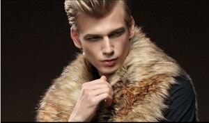 Image 4 - Gratis Verzending Nieuwe mode mannelijke mannen bont winter zelfontplooiing vest imitatie konijnenbont haar grote haar kraag verdikking