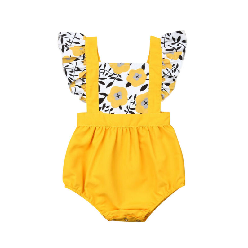 3-24Months Flower and leaves printed <font><b>Bodysuits</b></font> for New born infant baby girls Ruffle <font><b>sleeve</b></font> <font><b>Bodysuit</b></font> one pieces image