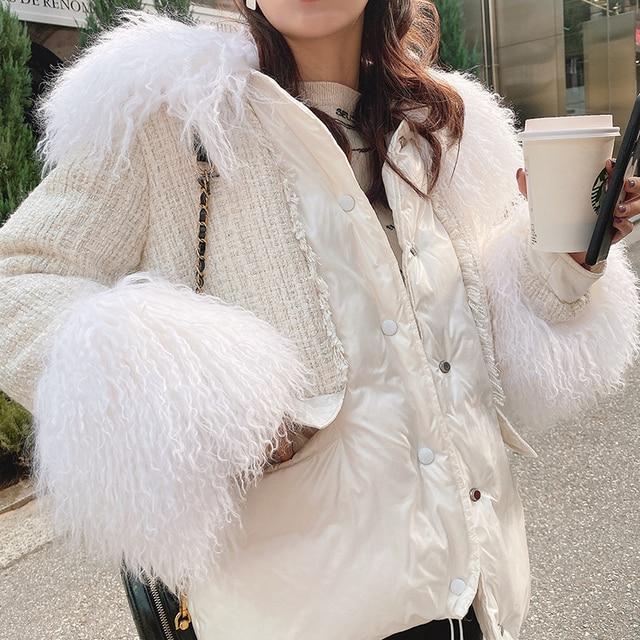 MISHOW 2019 חורף נשים 90% ברווז למטה לבן עבה מעיל אופנה נשי ברדס פרווה צווארון קצר עבה למטה מעיל MX19D8869