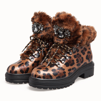 Women Winter Fur Short Boots 2020 Fashion Leopard Platform Snow Boots Rhinestone Ladies Patent Leather Female Luxury Ankle Shoes 2020 new fashion women boots high heels shoes for female strap buckle shoes ladies short boots leather ankle boots