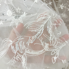 1 Yard 3D beaded sequin soft tulle embroidery lace fabric in off white for bridal gown wedding dress boho