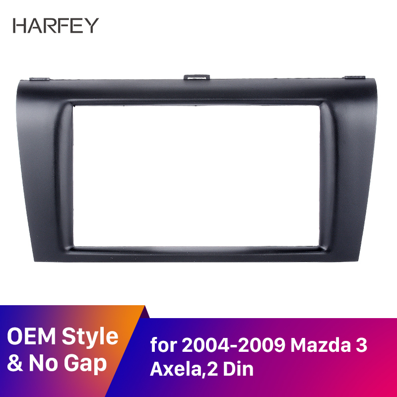Harfey <font><b>2DIN</b></font> Car GPS Radio Stereo Trim Frame Mounted Kit for 2004-2009 <font><b>Mazda</b></font> <font><b>3</b></font> Axela Fascia Fitting Adaptor Panel Plate Install image