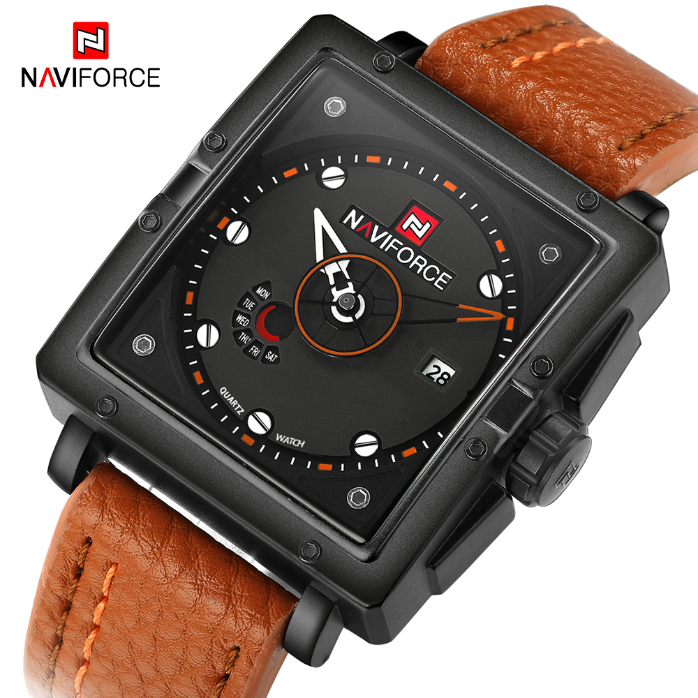 NAVIFORCE 2020 Hot Luxury Brand Men Watch Leather Strap Fashion Business Quartz Wrist Watch Male Mens Watches Relogio Masculino