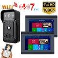2 монитора 7 дюймов проводной Wifi видео дверной звонок Домофон система входа с HD 1080P Проводная камера ночного видения