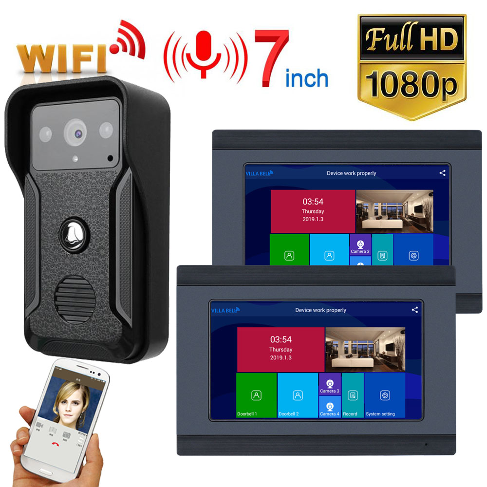 2 Monitors 7 Inch Wired Wifi Video Door Phone Doorbell Intercom Entry System With HD 1080P Wired Camera Night Vision