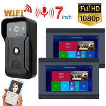 2 monitoren 7 inch Bedraad Wifi Video Deurtelefoon Deurbel Intercom met HD 1080P Wired Camera Night vision(China)