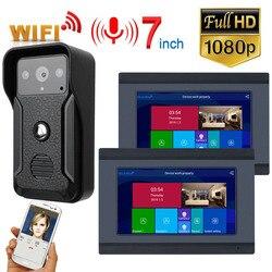 2 monitores 7 pulgadas con Cable Wifi Video puerta teléfono timbre intercomunicador sistema de entrada con HD 1080P cable Cámara noche visión