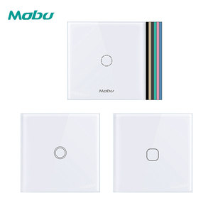 Mobu 1 Gang 1 Way, Crystal Glass Panel Touch Switch, Light Wall Touch Screen Switch(China)