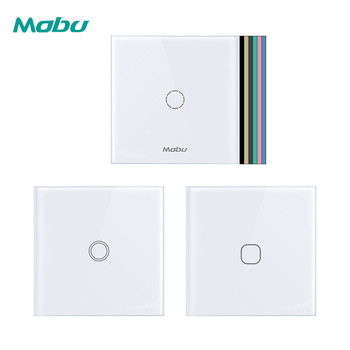 Mobu  123 Gang 1 Way,   Crystal Glass Panel Touch Switch,  Light Wall Touch Screen Switch chint lighting switches 118 type switch panel new5d steel frame four position six gang two way switch panel