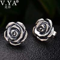 Vintage Stil 925 Sterling Silber Rose Blume Stud Ohrring Mode Boucle D'oreille Frauen Edlen Schmuck