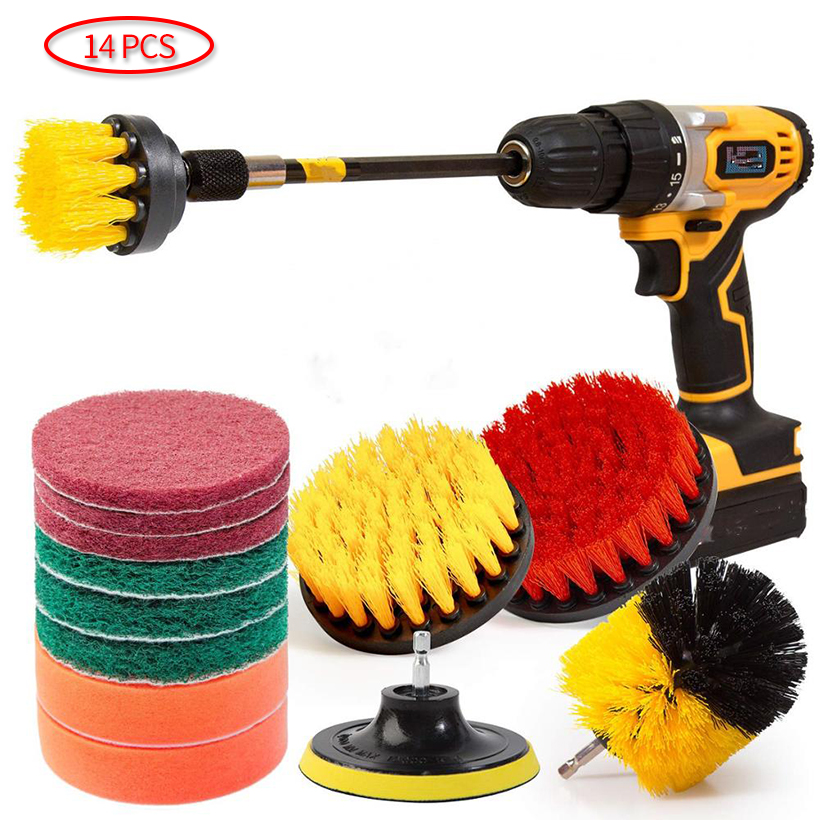 14Piece Drill Brush Attachments Set cleaning brush for drill, Shower, Tile and Grout All Purpose Power Scrubber Cleaning Kit D30(China)