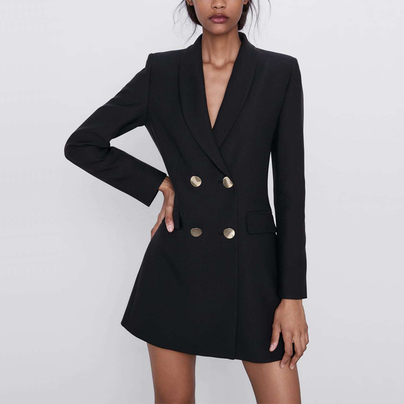 Leisure Suit Female Blazer Black Color Long Section Of Double-breasted Suit Slim Jacket