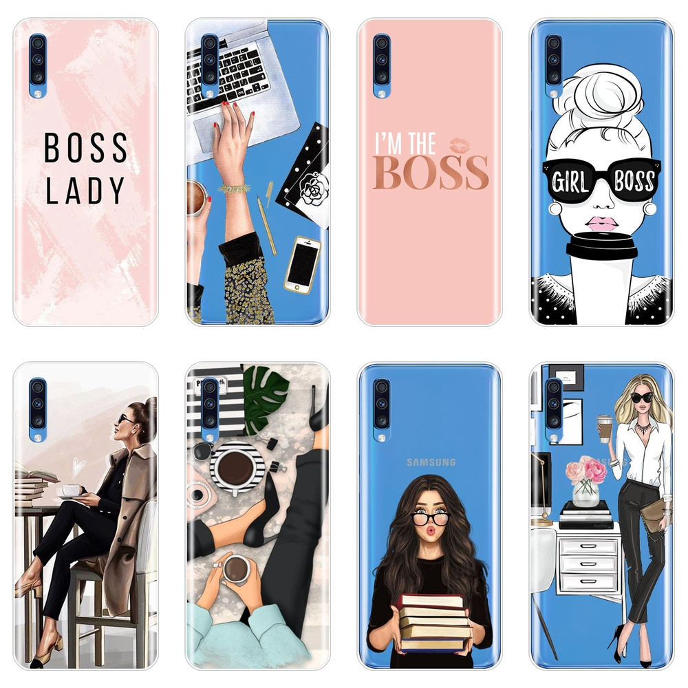 Phone Case For Samsung Galaxy A40 A30 A20 A10 Girl Boss Pink Womsoft Silicone Back Cover For Samsung Galaxy A50 A60 A70 A80