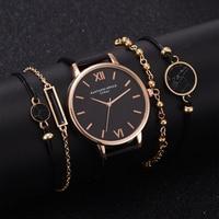 5pcs Set Top Stijl Mode vrouwen Luxe Lederen Band Analoge Quartz Horloge Dames Horloge Vrouwen Jurk Reloj Mujer zwarte Klok