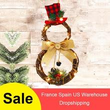 크리스마스 할로윈 led 화환 매달려 장식 가정용 등나무 화환 벽 문 농가 장식