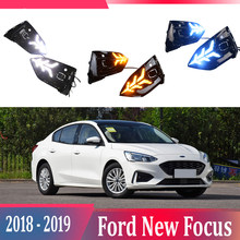 2pcs For Ford Focus 2018-2019 LED Daytime Running Lights DRL with Fog lamp hole Yellow Turn Signal lamp Blue Night light(China)