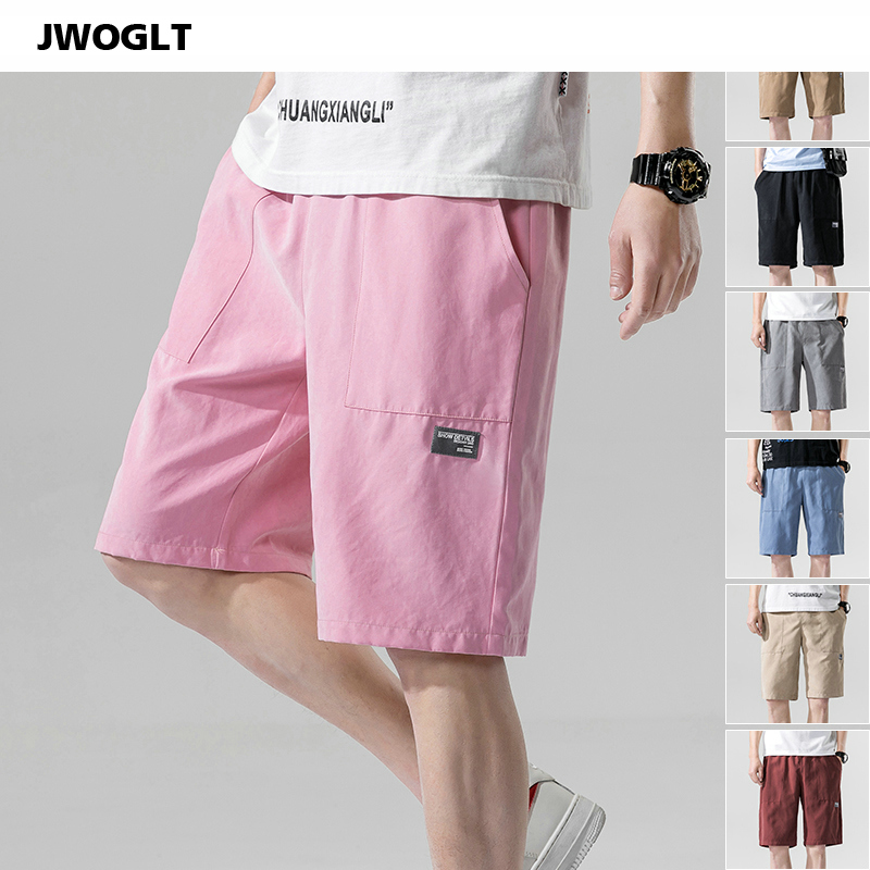 New Summer Casual Shorts Men's Korean Fashion Elastic Waist Sweat Harajuku Man Black Pink Khaki Jogger Shorts M-3XL