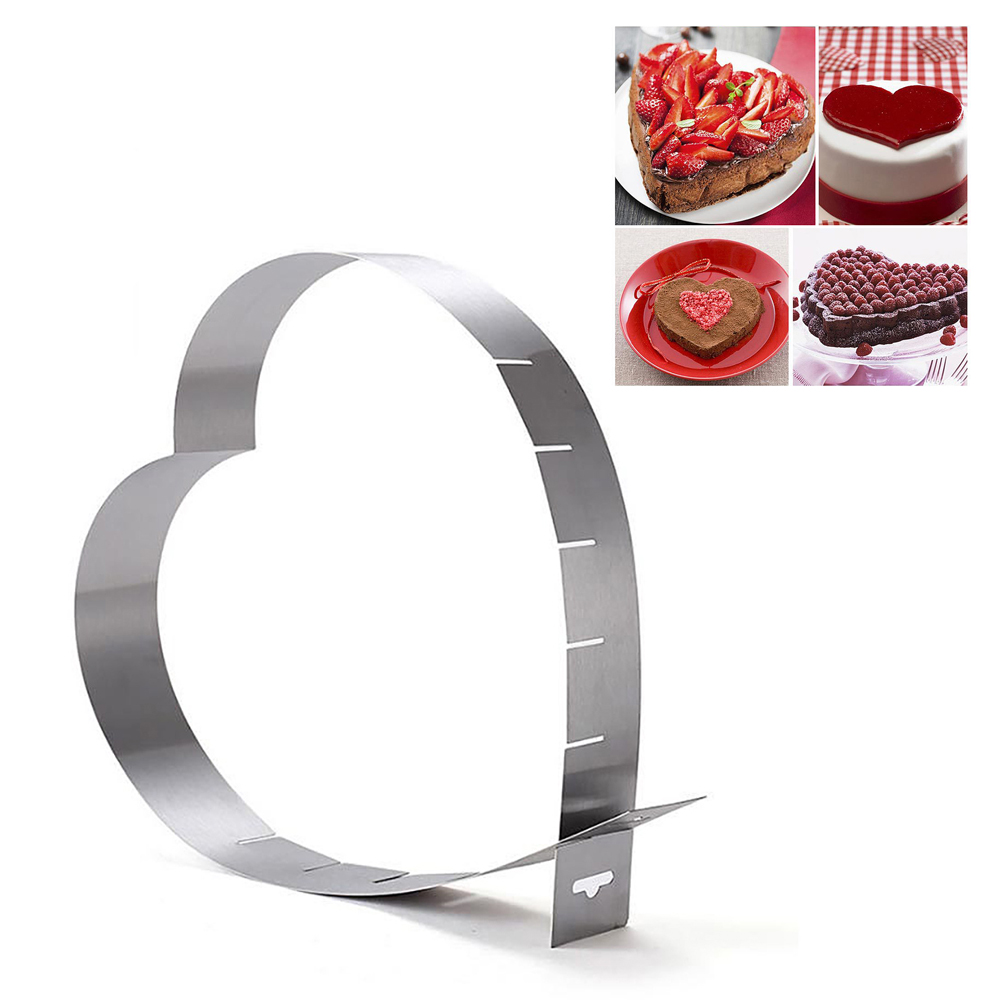 1Pc Mousse Ring Pastry Mould Cutter Stainless Steel Mold Heart Shape Adjustable Baking Cake Decorating Tool Kitchen Supplies Set