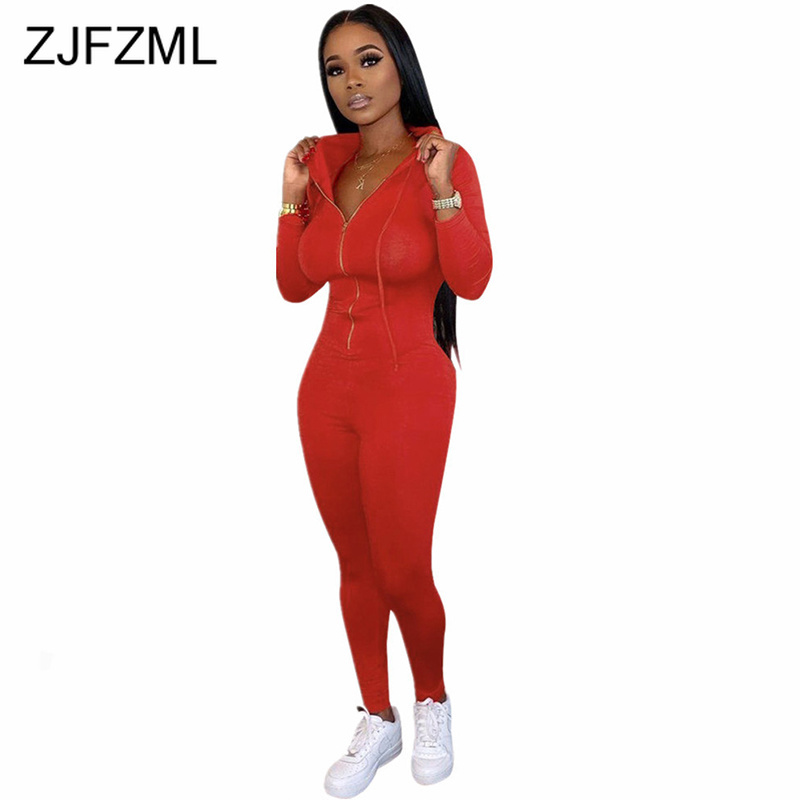 Front Zipper Sexy Rompers Womens Jumpsuit Black Red Long Sleeve Hooded Fitness Bodysuit Streetwear High Waist Club Party Overall