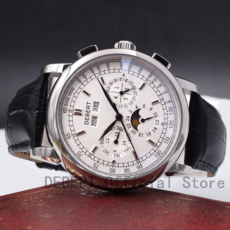 42 Moon Phase Watch Men Week Calendar Year Month Automatic Mechanical часы мужские механические Montre Homme 316L Stainless Stee