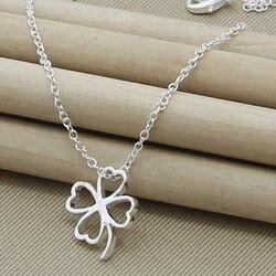 925 argent Sterling creux quatre feuilles trèfle pendentif colliers 18 pouces chaîne pour mère femme bijoux cadeaux