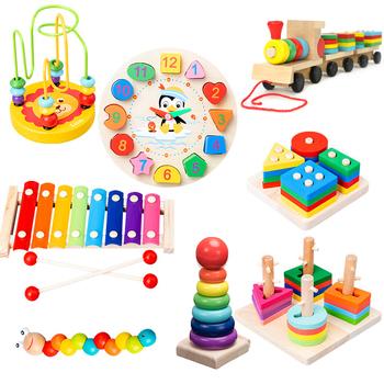 Gorąca sprzedaż zabawki dla niemowląt kolorowe drewniane bloczki dla dzieci grzechotki muzyczne graficzne poznanie wczesne zabawki edukacyjne dla dzieci prezenty świąteczne tanie i dobre opinie Drewna Unisex QWZ343-15 0-12 miesięcy 13-24 miesięcy 3 lat 3 lat 6 lat Zestawy Musical As Picture Stay away from fire
