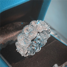 Choucong потрясающее Ограниченная серия кольцо вечности кольцо обещания 925 пробы серебро 11 шт Овальные ааааа обручальные кольца с фианитами для женщин