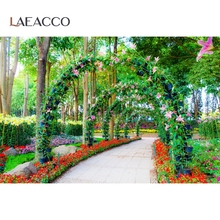 Laeacco Green Spring Flowers Arch Door Corridor Grass Tree Scene Photography Backgrounds Photographic Backdrops For Photo Studio