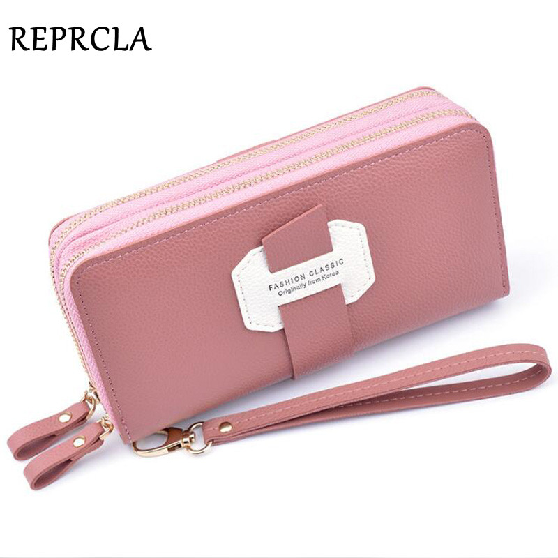 Double Zipper Wristband Wallet Women Purse Card Holder PU Leather Phone Pocket Female Clutch High Capacity Carteira