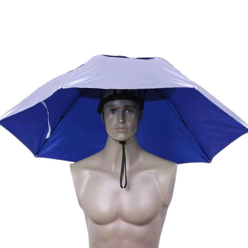 95CM גדול ראש מטרייה אנטי Uv נגד גשם חיצוני נסיעות מטריית דיג כובע נייד שלושה קיפול מטריית גברים נשים