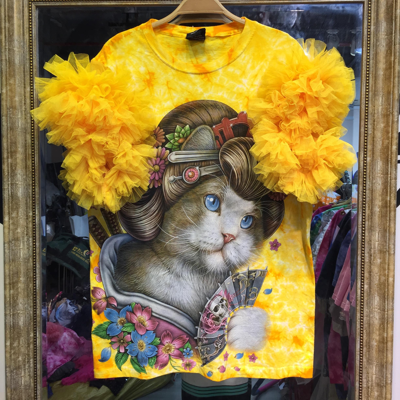 Été dames mignon chat imprimer hauts t-shirts femmes jaune t-shirts Harajuku femme t-shirt grande taille maille manches bouffantes hauts SA430S30