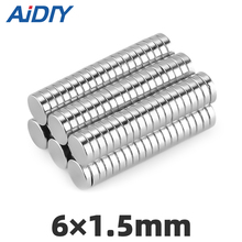 AI DIY 50/100/200 pcs 6mm x 1.5mm Circular disc  neodymium magnet N35 super strong power magnets 6*1.5mm