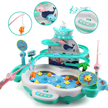 Fishing Game Toys with Slideway,Electronic Toy Fishing Set with Magnetic Pond,10 Fish,3 Magnetic Dolphins,2 Toy Fishing Poles,Le