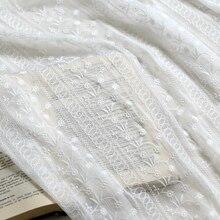 1yard Chiffon fabric silk three-dimensional embroidery mesh white soft lace apparel handmade diy