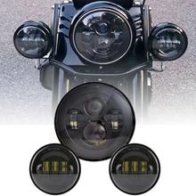 7Inch Motor Koplamp + 2 Stuks 30W Waterdichte 4 1/2 Extra Passeren Lamp Led Fog Licht Voor Motorfiets road King Touring