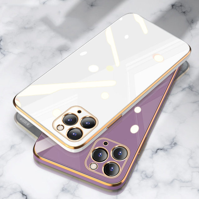 Luxury Gold Plated Electroplated Case For iPhone 11 Pro Max 8 Plus 7 XR XS X Silicone Lens Protection 12 Pro Max SE 2020 Cover 6