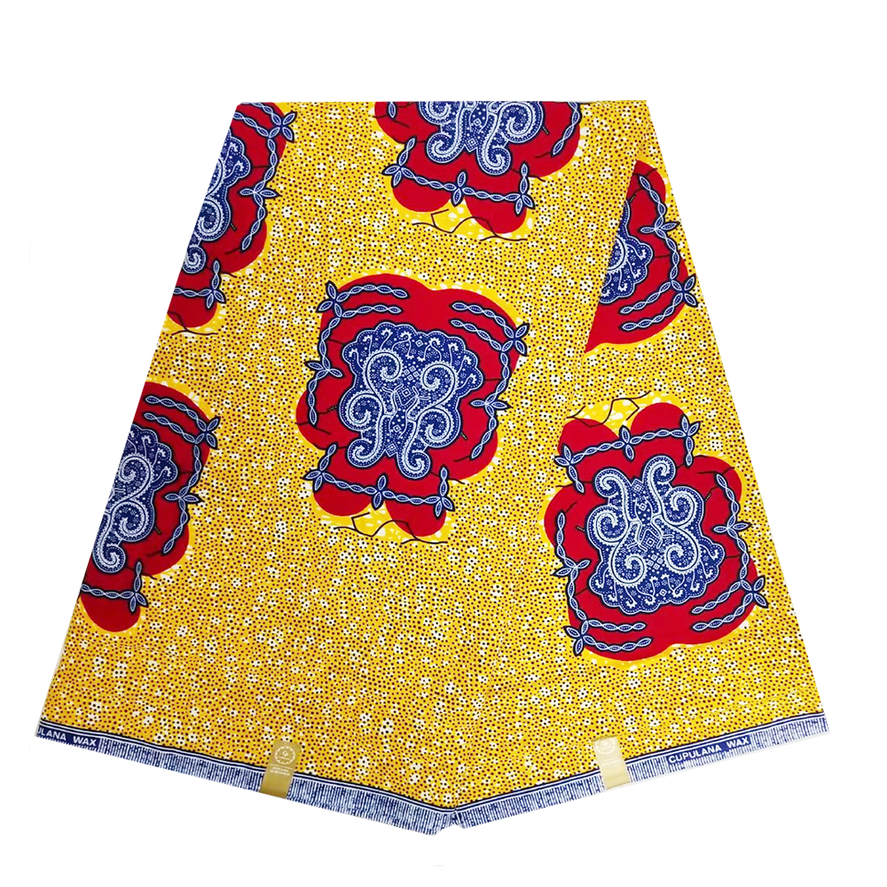 100% Cotton Yellow High Quality Fabric African Ankara Nigerian Veritable Wax Real Dutch Wax Fabric For Women Sewing Fabric